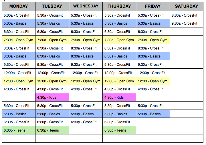 CrossFit DFW Schedule